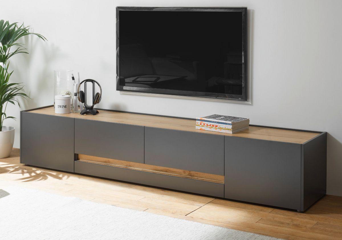 TV-Lowboard Center in grau matt und Eiche Wotan 220 cm
