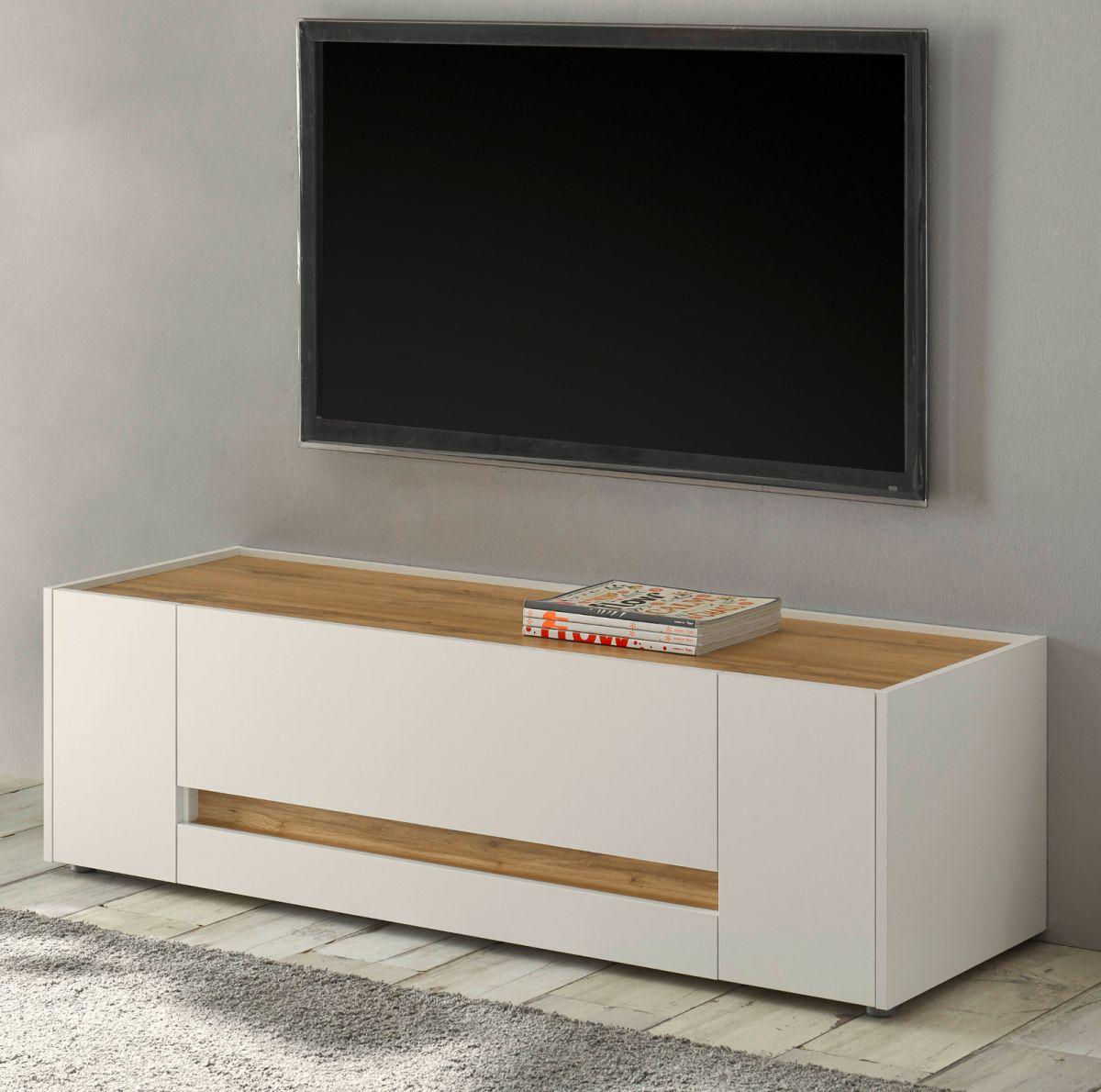 TV-Lowboard Center in weiss und Eiche Wotan 140 cm