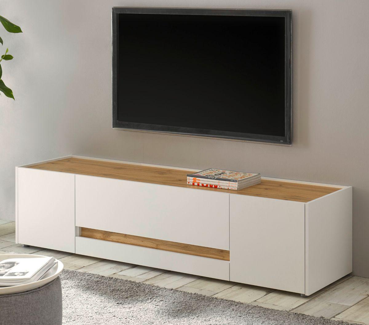 TV-Lowboard Center in weiss und Eiche Wotan 170 cm
