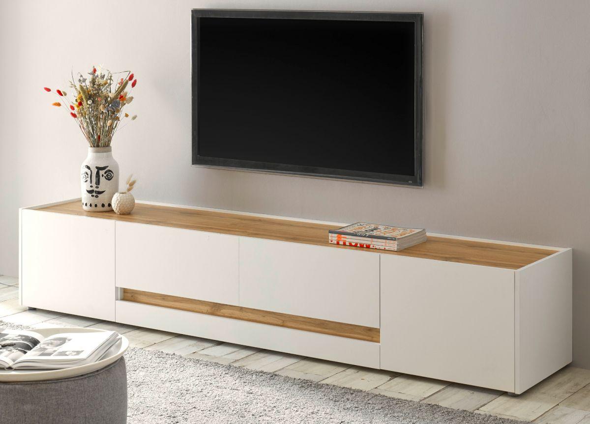 TV-Lowboard Center in weiss und Eiche Wotan 220 cm