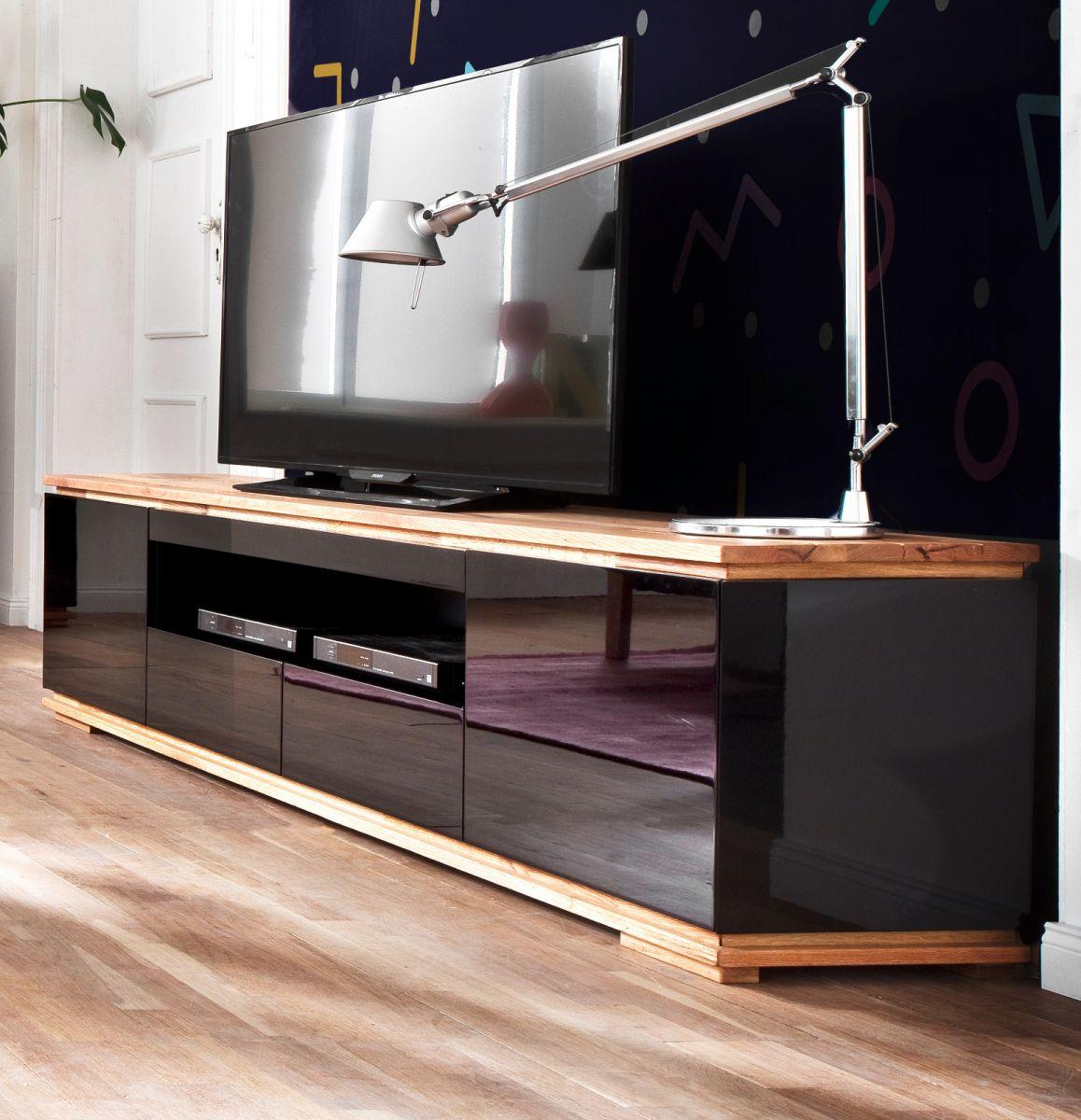 TV-Lowboard Chiaro schwarz Hochglanz Lack und Eiche - Asteiche massiv 202 x 54 cm
