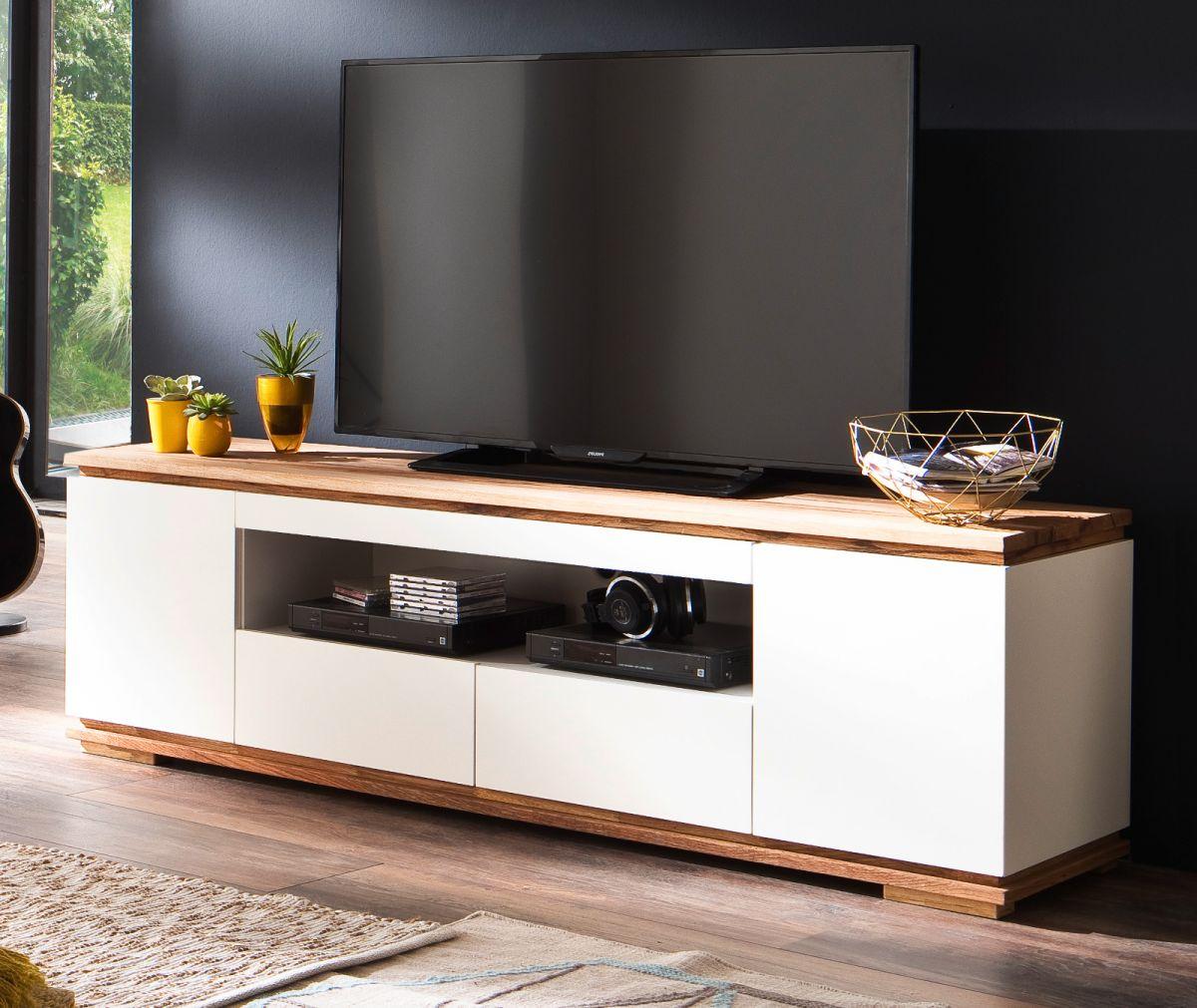 TV-Lowboard Chiaro weiss matt Lack und Eiche - Asteiche massiv 202 x 54 cm