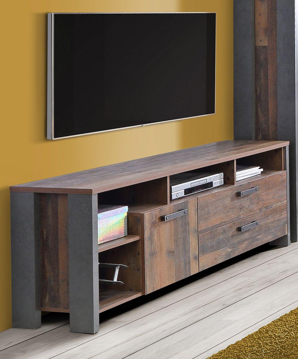 TV-Lowboard Clif Old Used Wood Shabby und Beton grau 161 cm
