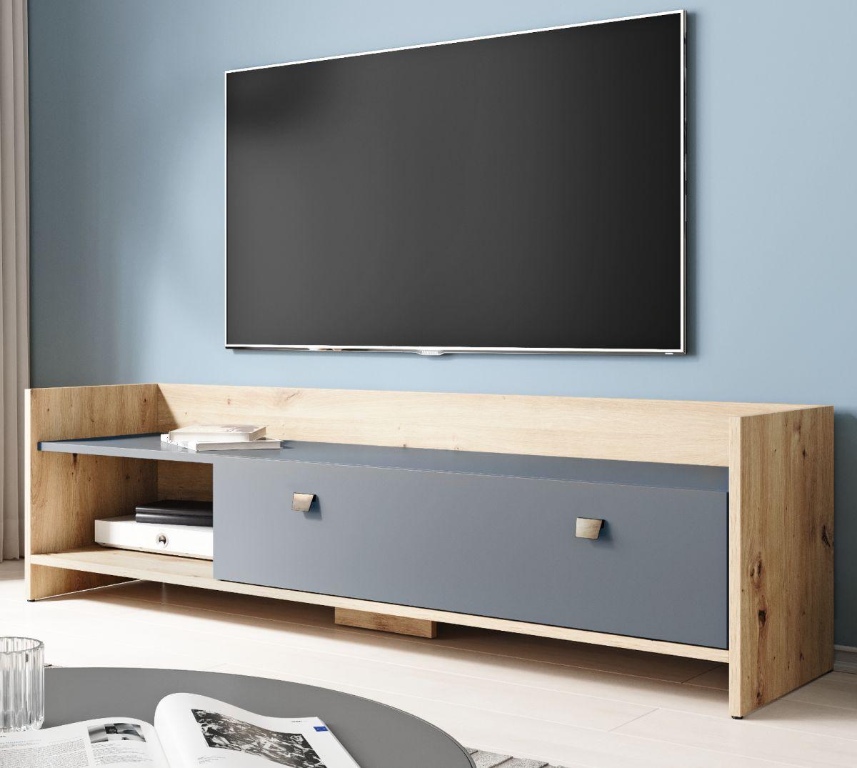 TV-Lowboard Close in Eiche Artisan und graphit 140 cm