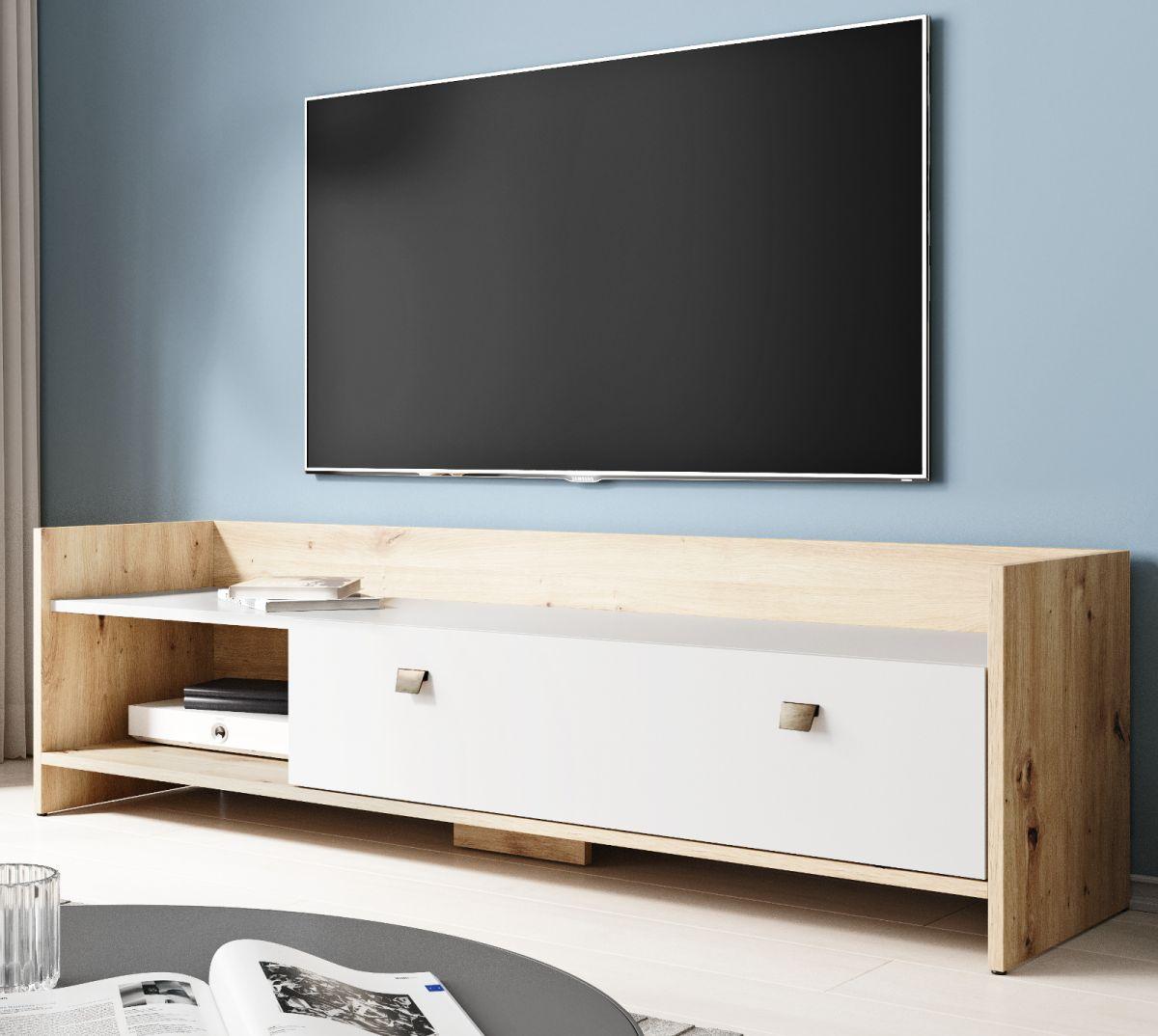 TV-Lowboard Close in Eiche Artisan und weiss 140 cm