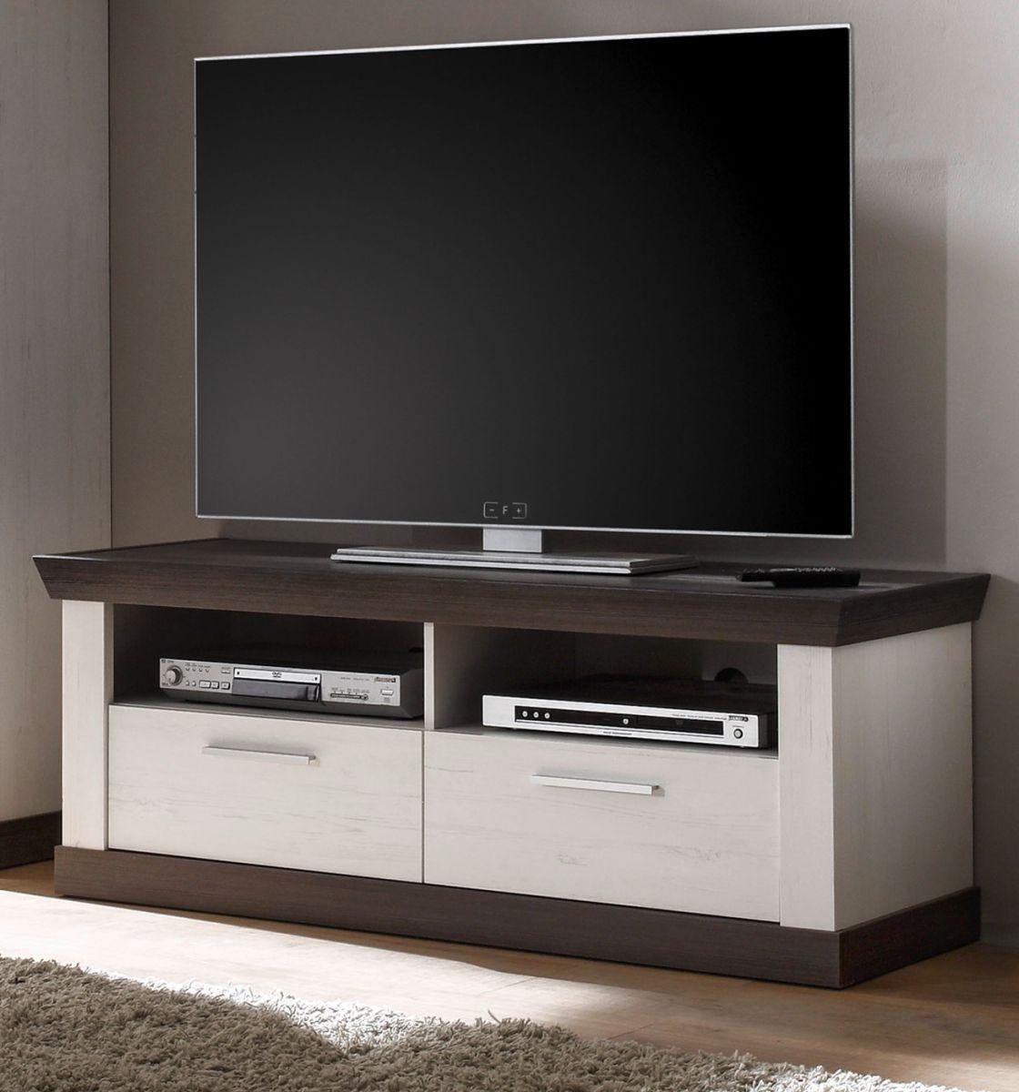 TV-Lowboard Corela in Pinie weiss und Wenge Landhaus 135 x 51 cm