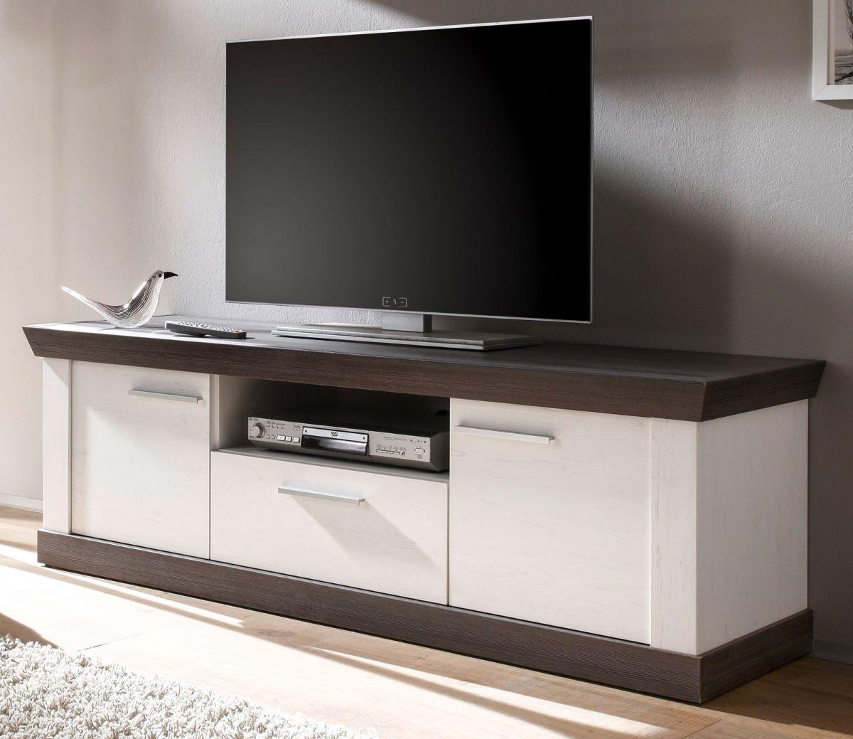 TV-Lowboard Corela in Pinie weiss und Wenge Landhaus 158 x 51 cm