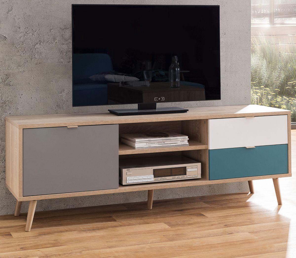TV-Lowboard Cuba Eiche Tricolor 150 x 52 cm