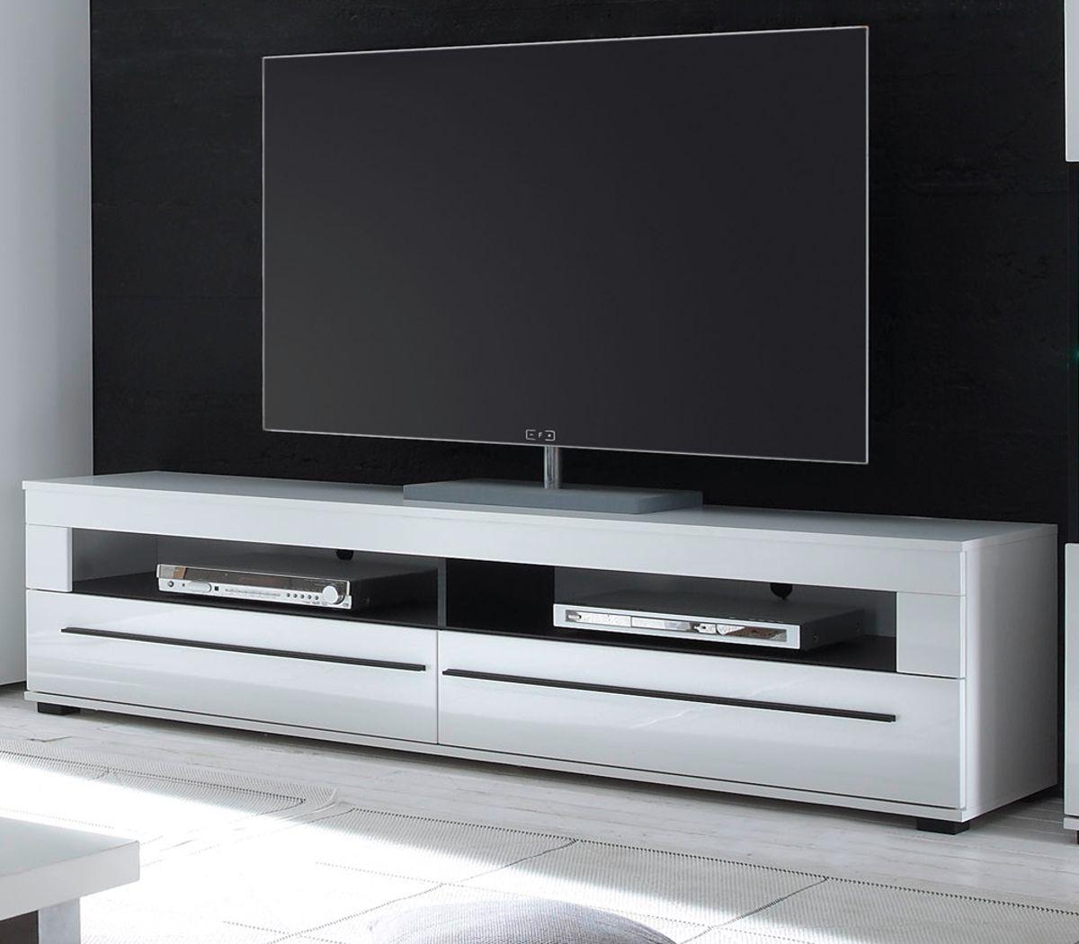 TV-Lowboard Design-D in Hochglanz weiss 180 x 47 cm