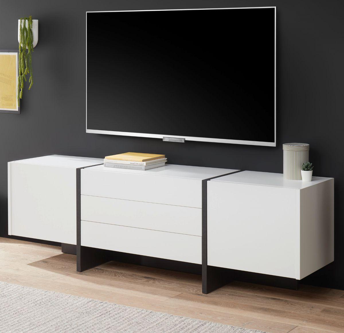 TV-Lowboard Design-M in weiss matt und Fresco grau 190 x 60 cm