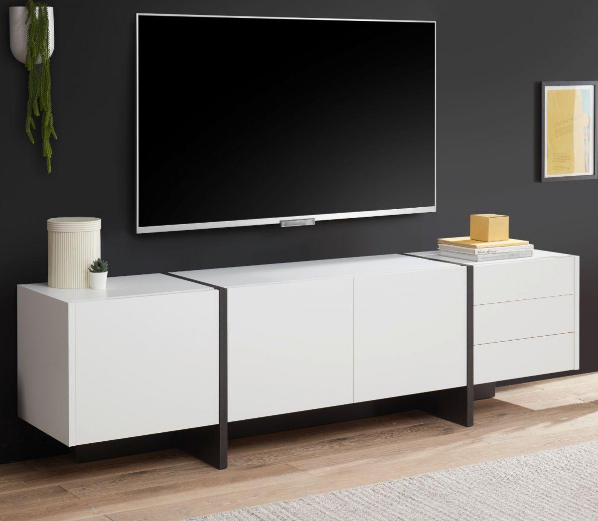 TV-Lowboard Design-M in weiss matt und Fresco grau 210 x 60 cm