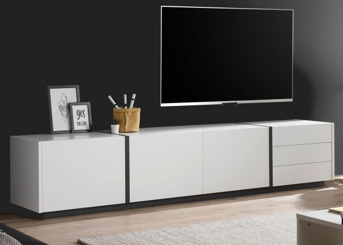 TV-Lowboard Design-M in weiss matt und Fresco grau 250 x 50 cm