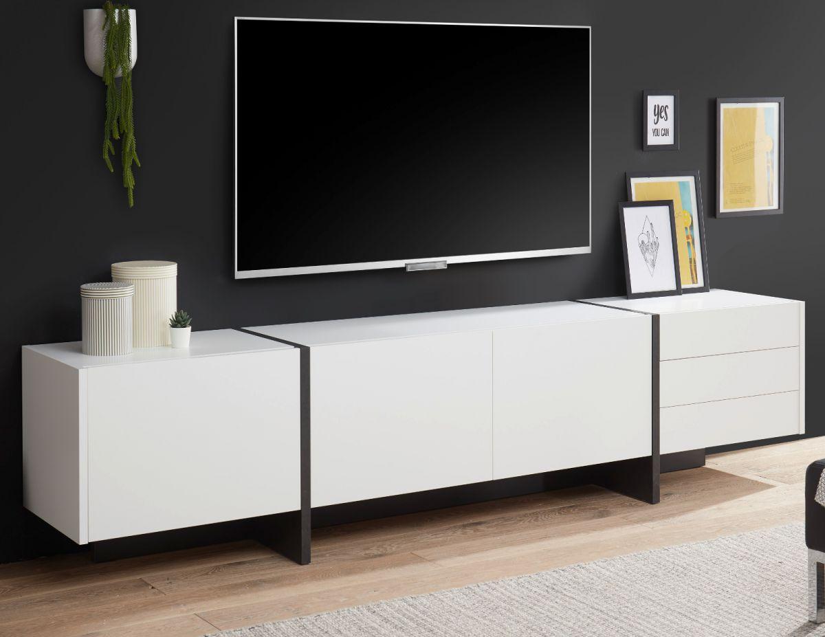 TV-Lowboard Design-M in weiss matt und Fresco grau 250 x 60 cm