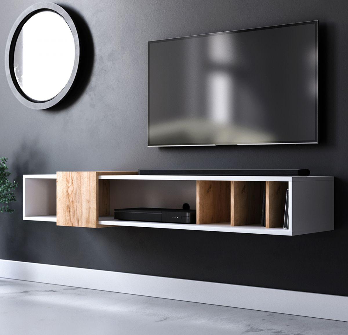 TV-Lowboard Design-T in weiss und Eiche Gold hängend 150 cm