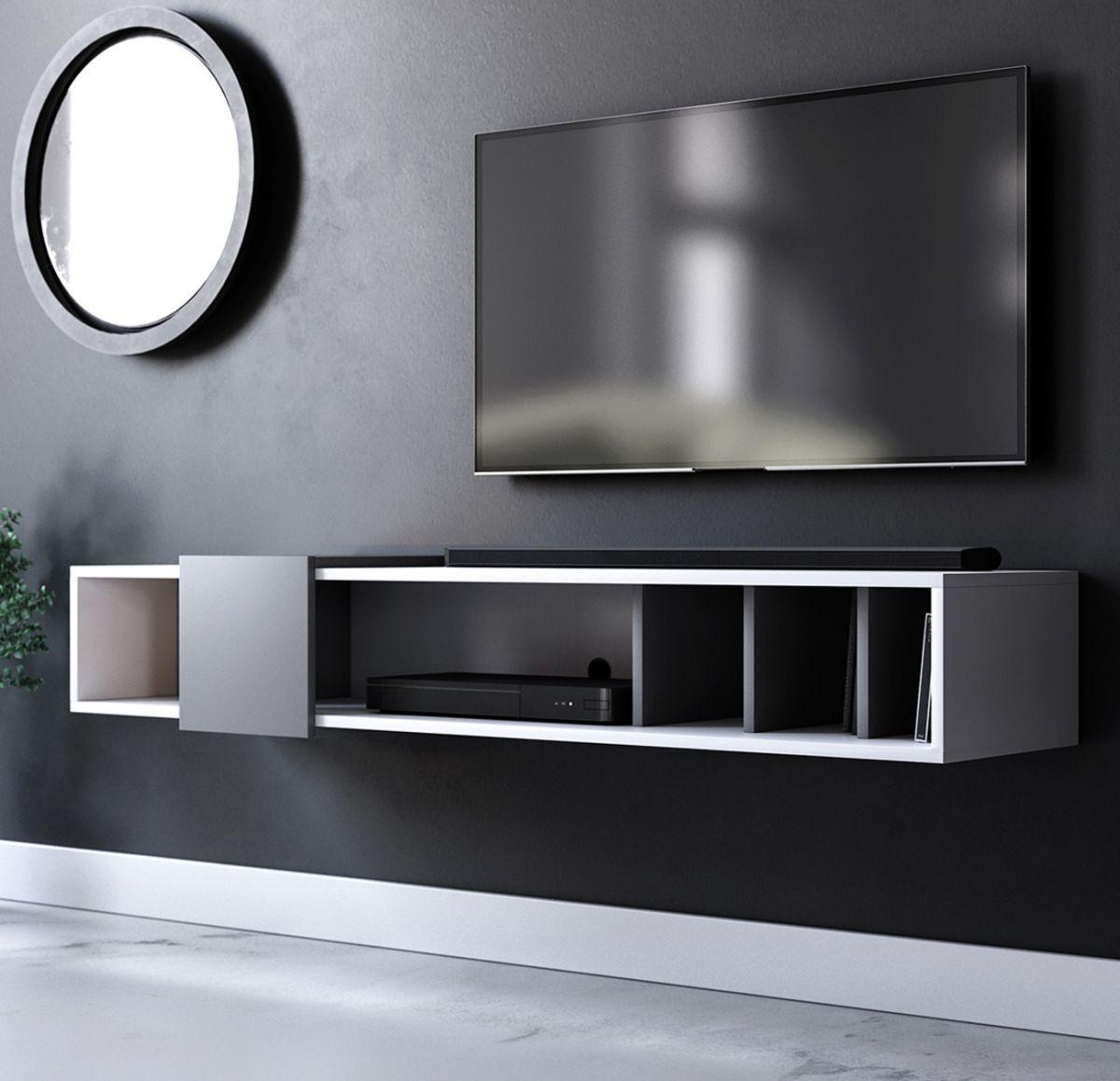 TV-Lowboard Design-T in weiss und grau hängend 150 cm