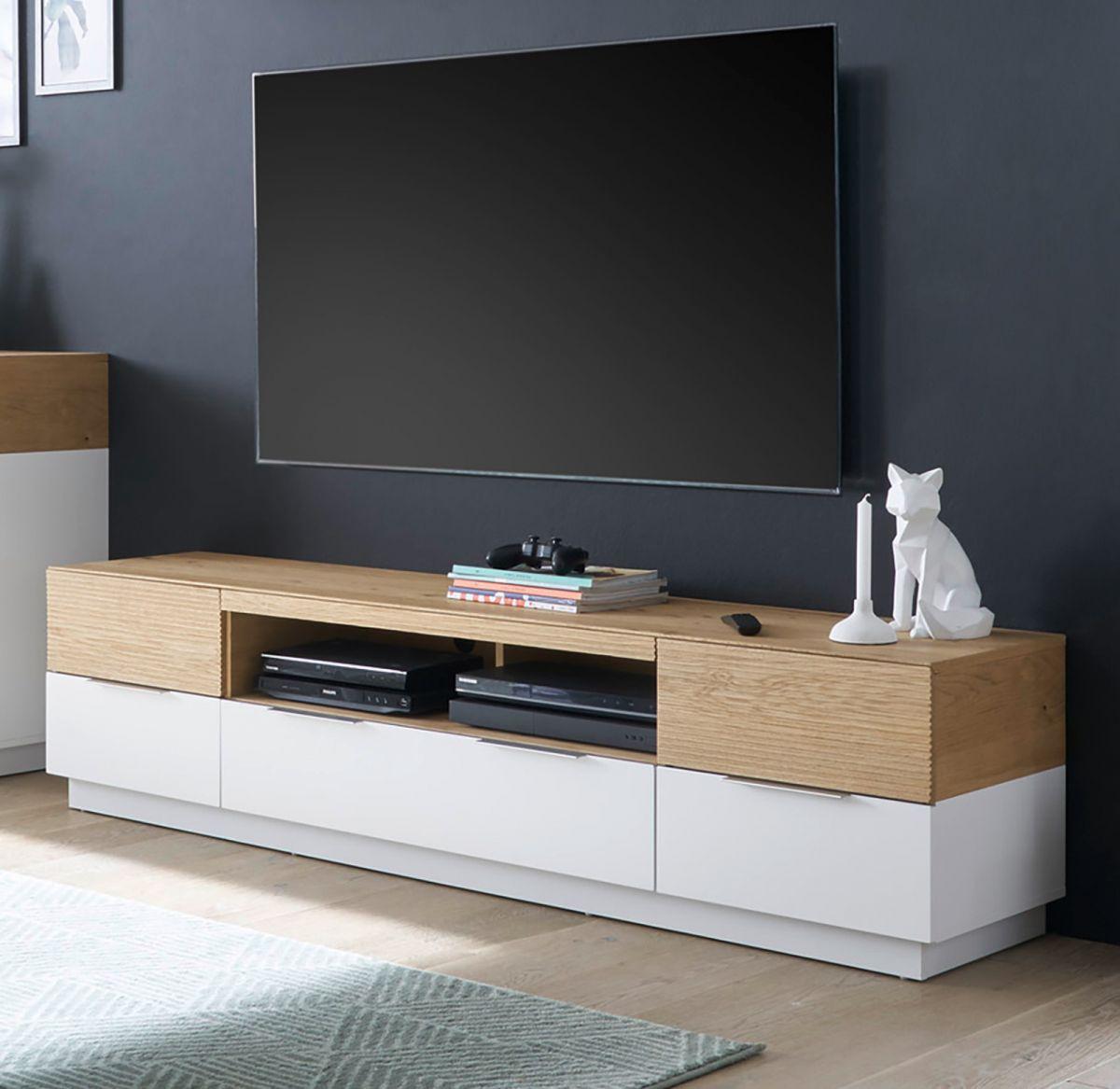 TV-Lowboard Dubai in weiss matt lackiert und Eiche massiv 182 cm