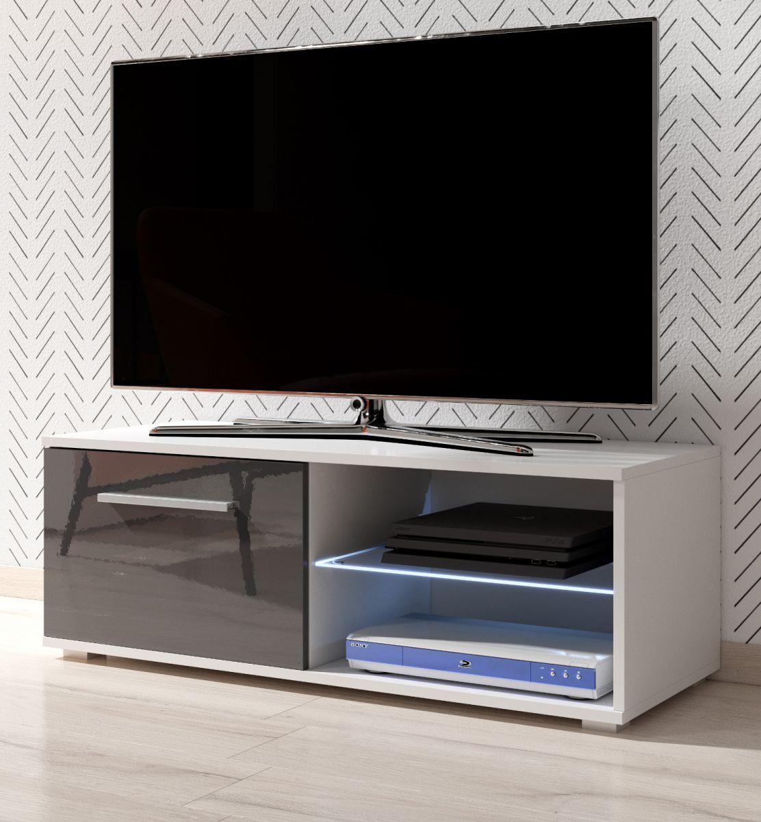 TV-Lowboard Earth Hochglanz grau mit Beleuchtung 100 cm
