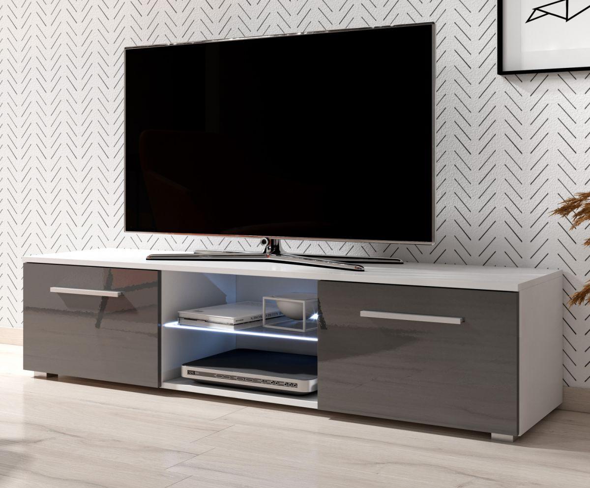 TV-Lowboard Earth Hochglanz grau mit Beleuchtung 140 cm