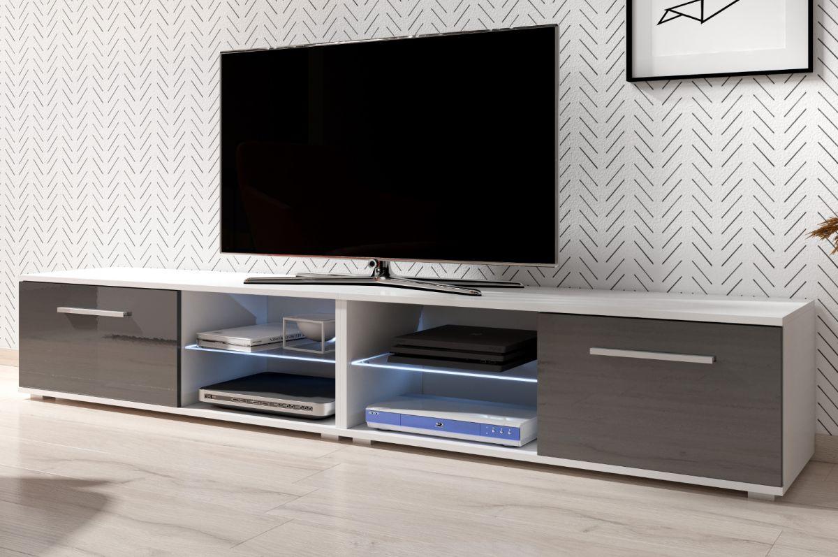 TV-Lowboard Earth Hochglanz grau mit Beleuchtung 200 cm