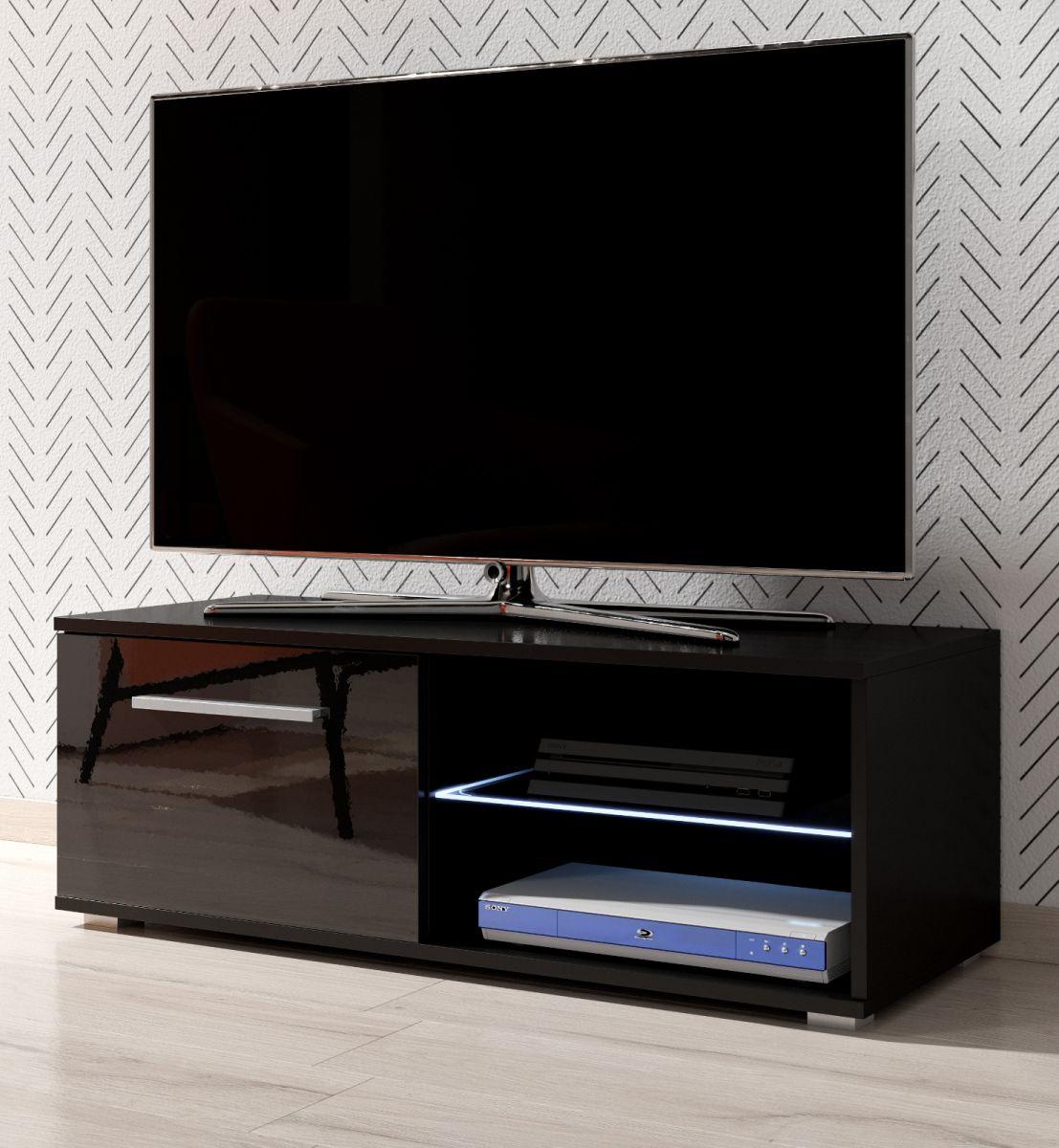 TV-Lowboard Earth Hochglanz schwarz mit Beleuchtung 100 cm