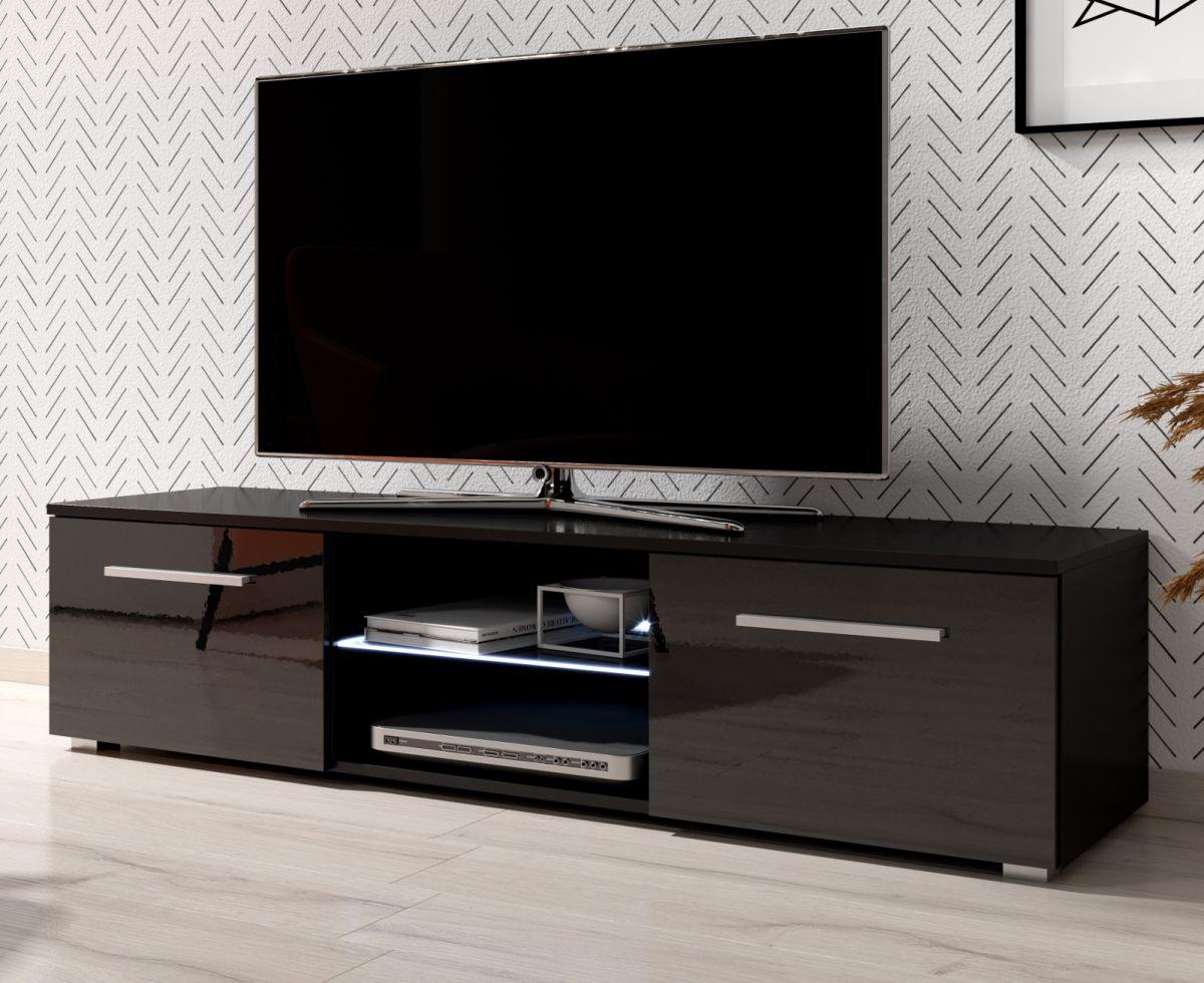 TV-Lowboard Earth Hochglanz schwarz mit Beleuchtung 140 cm
