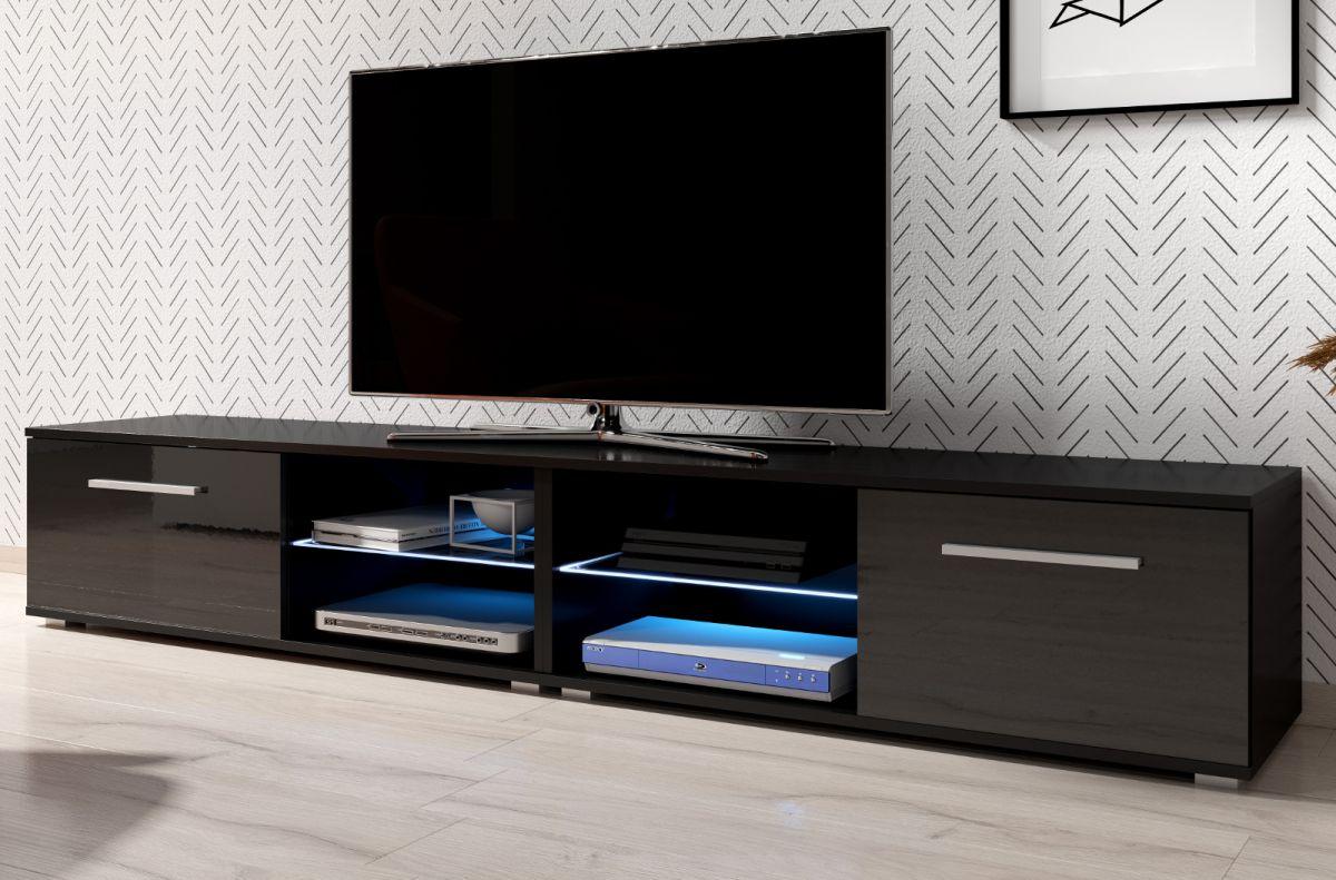 TV-Lowboard Earth Hochglanz schwarz mit Beleuchtung 200 cm