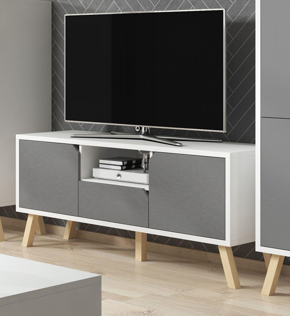TV-Lowboard Edos in grau und weiss 140 x 70 cm