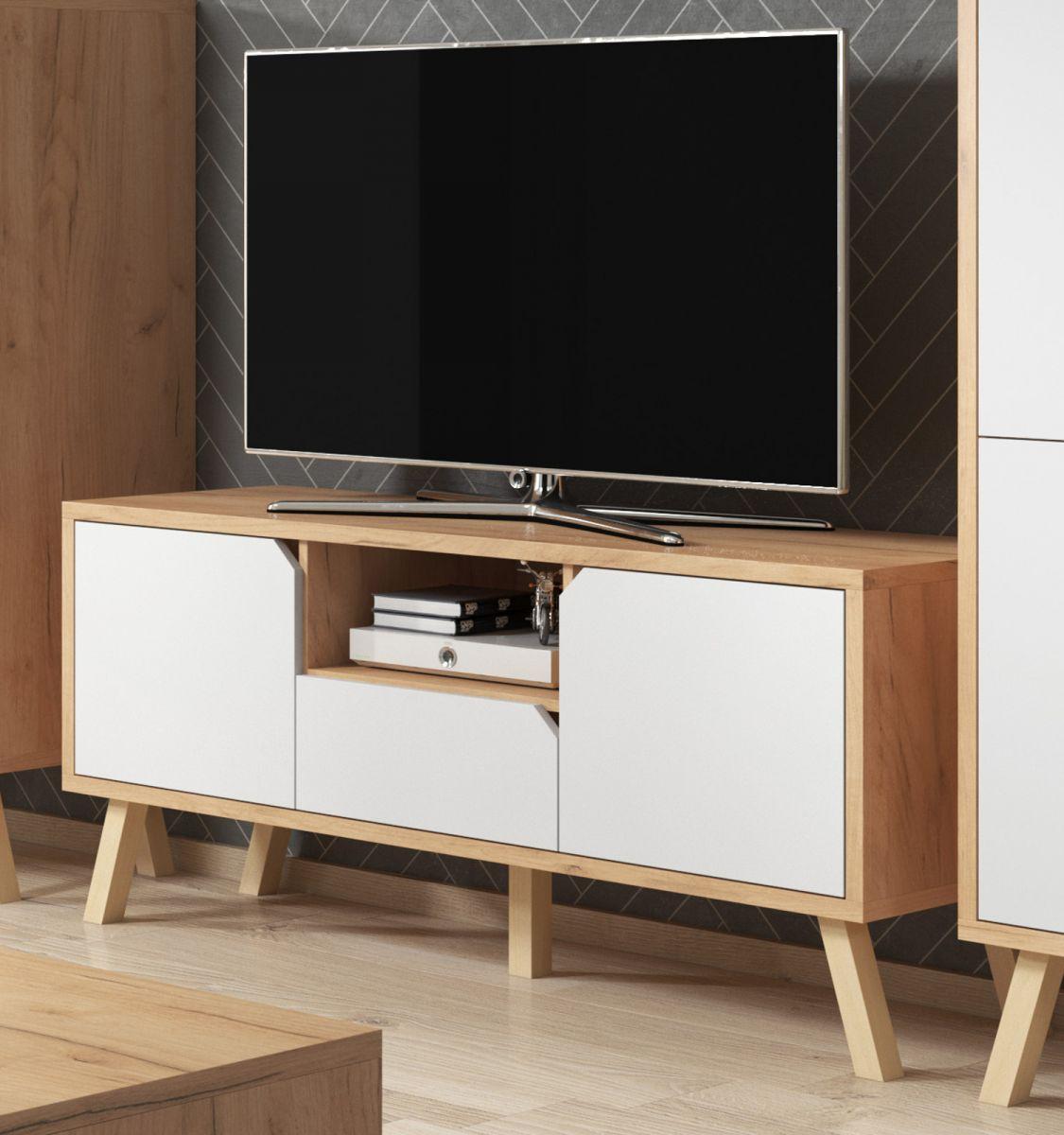 TV-Lowboard Edos in weiss und Eiche Gold 140 x 70 cm