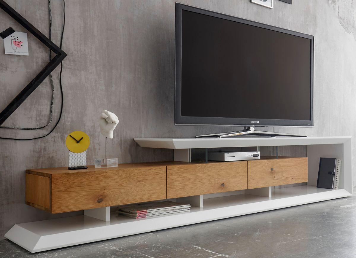 TV-Lowboard Emela weiss matt lackiert Asteiche Eiche 198 x 43 cm