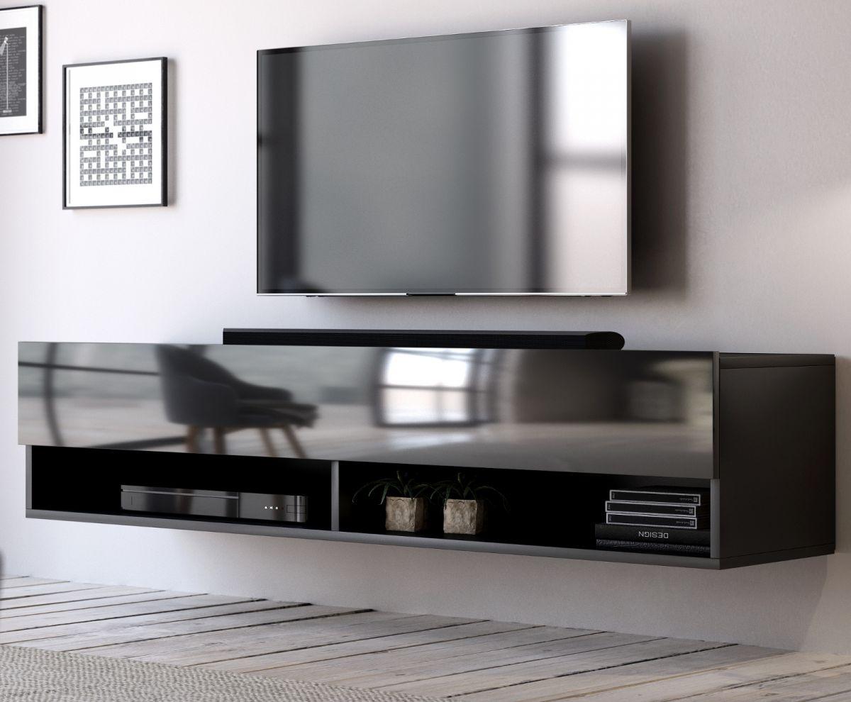 TV-Lowboard Epsom Hochglanz schwarz hängend 140 cm