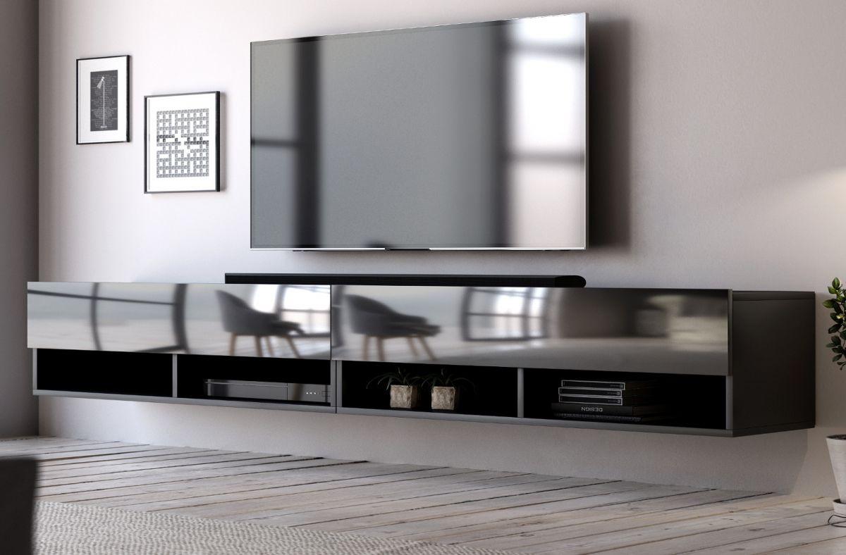 TV-Lowboard Epsom Hochglanz schwarz hängend 280 cm