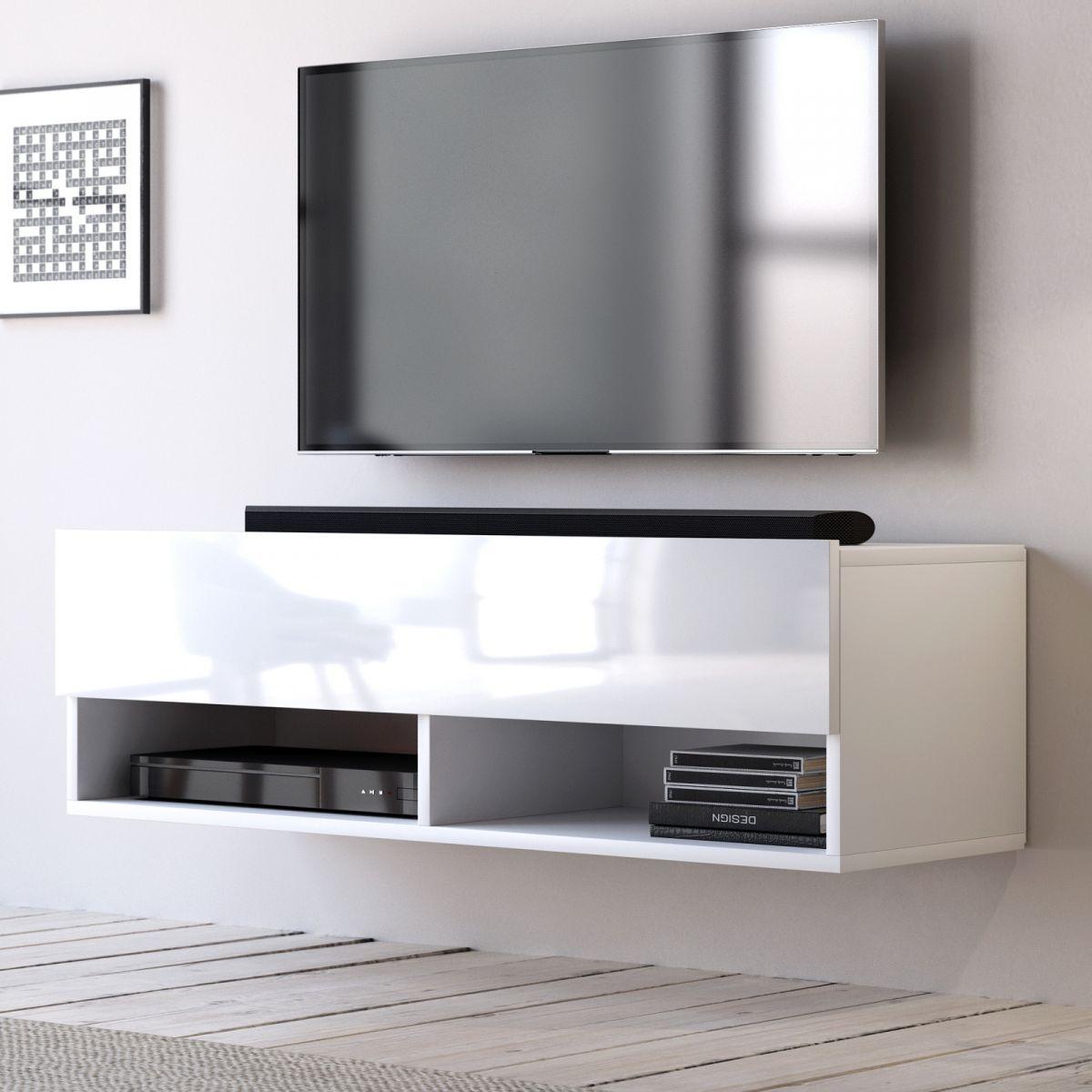 TV-Lowboard Epsom Hochglanz weiss hängend 100 cm