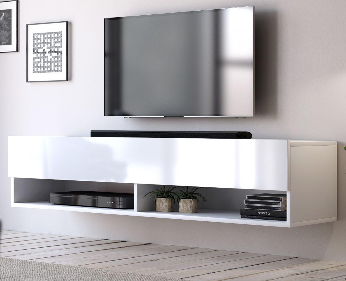 TV-Lowboard Epsom Hochglanz weiss hängend 140 cm