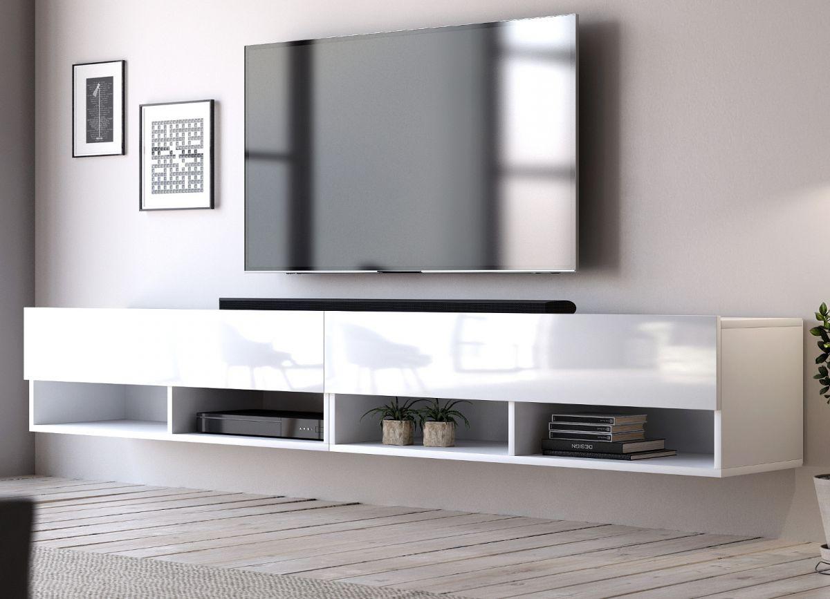 TV-Lowboard Epsom Hochglanz weiss hängend 200 cm