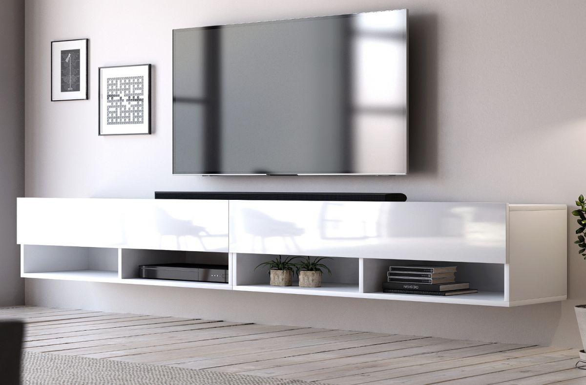 TV-Lowboard Epsom Hochglanz weiss hängend 280 cm