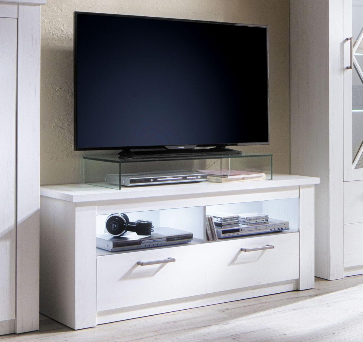 TV-Lowboard Georgia Pinie Struktur weiss Dekor 139x58 cm Landhaus