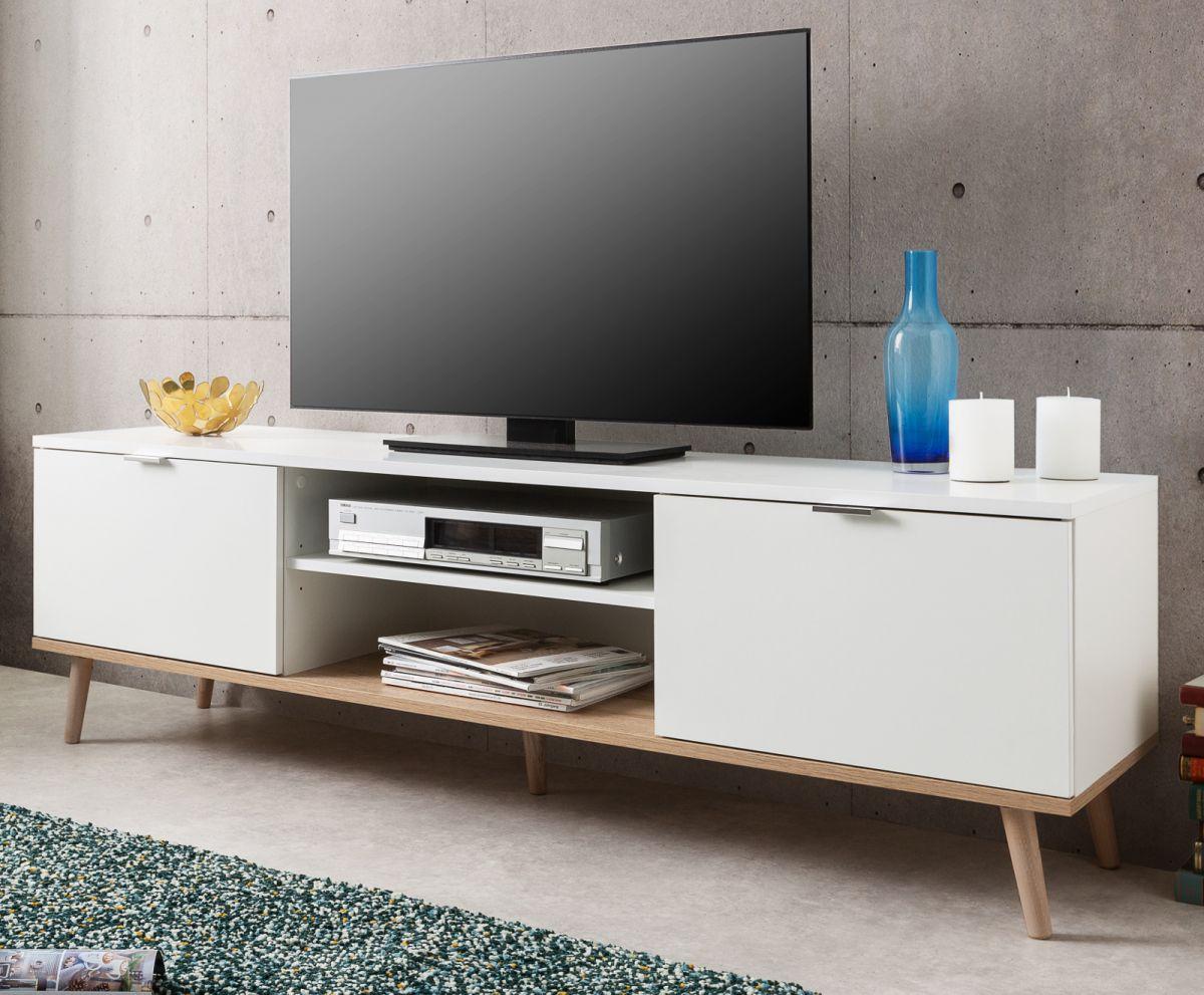TV-Lowboard Göteborg weiss und Eiche massiv 160 cm
