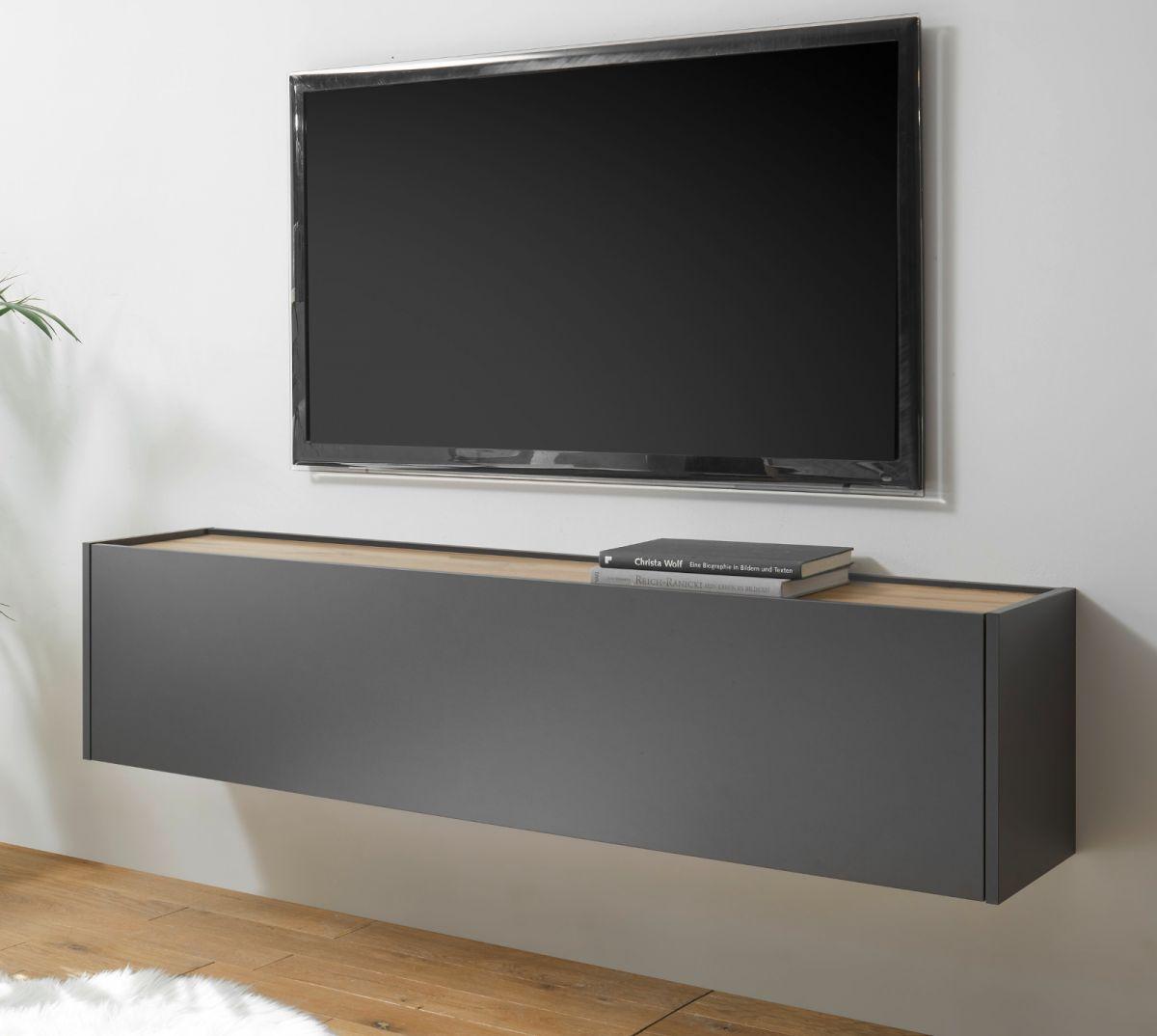 TV-Lowboard hängend Center in grau matt und Eiche Wotan 150 cm