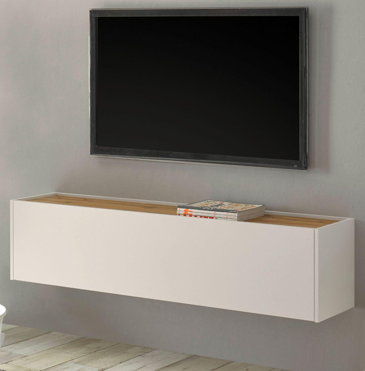 TV-Lowboard hängend Center in weiss und Eiche Wotan 150 cm