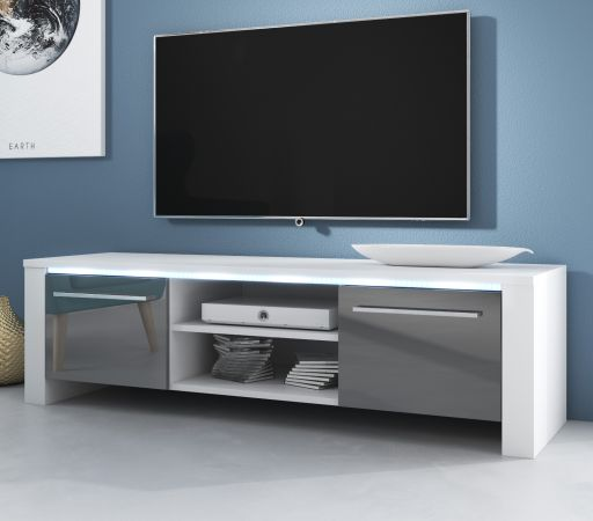 TV-Lowboard Harlem Hochglanz grau mit Beleuchtung 140 cm