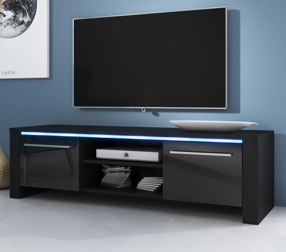 TV-Lowboard Harlem Hochglanz schwarz mit Beleuchtung 140 cm