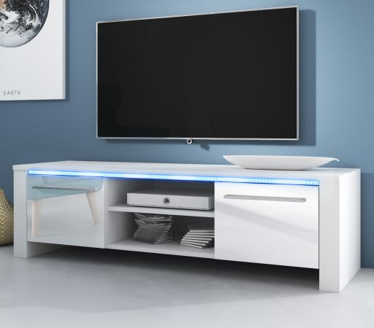 TV-Lowboard Harlem Hochglanz weiss mit Beleuchtung 140 cm