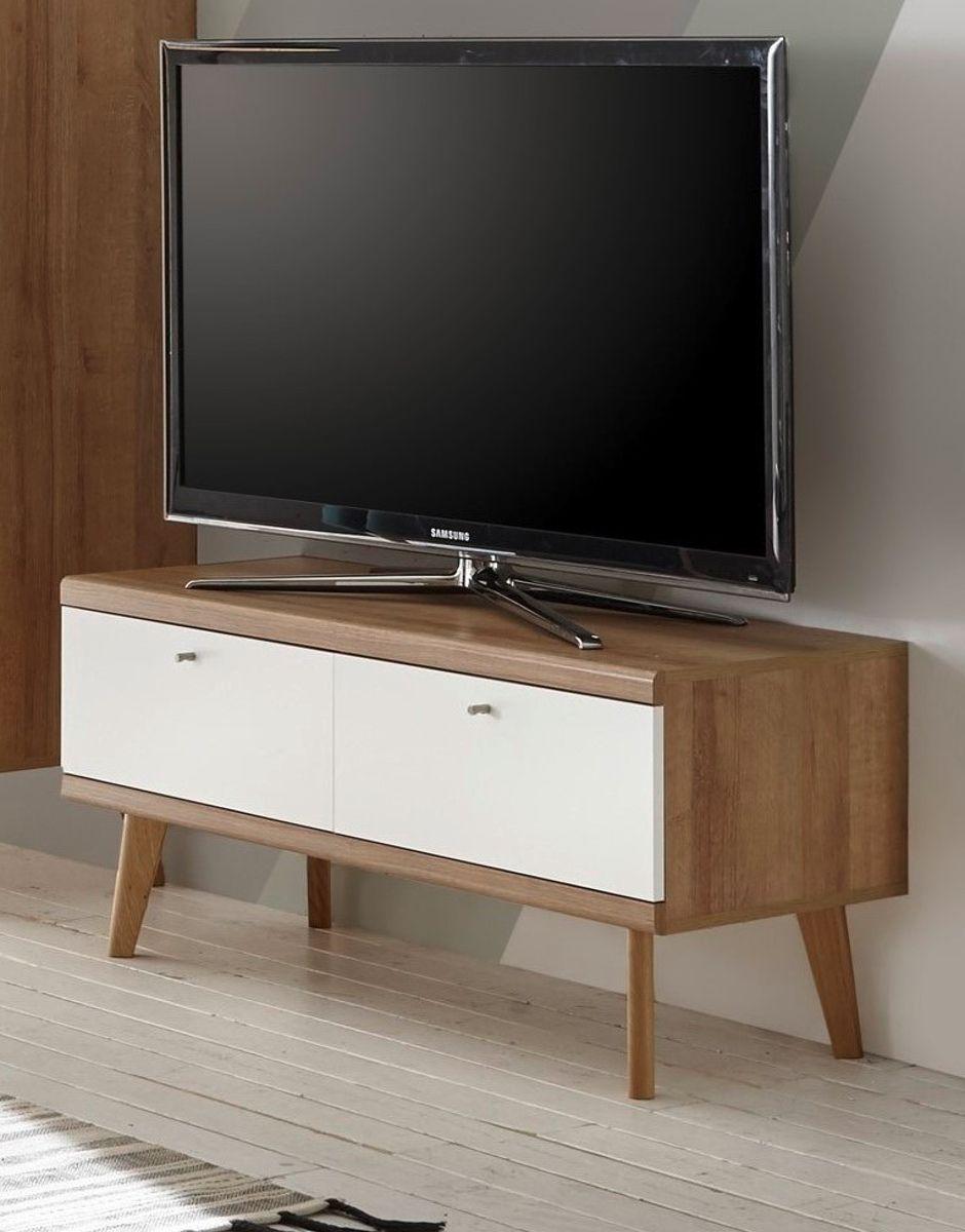 TV-Lowboard Helge in weiss und Eiche Riviera 107 x 50 cm
