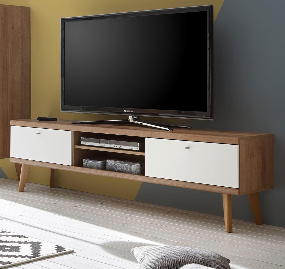 TV-Lowboard Helge in weiss und Eiche Riviera 160 x 50 cm