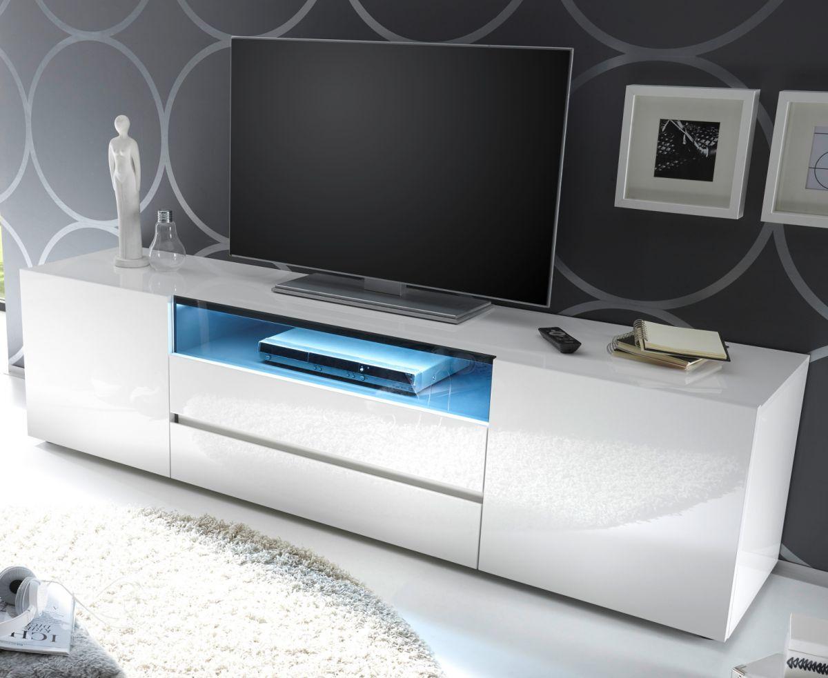 TV-Lowboard Hochglanz weiss Lack 185 cm