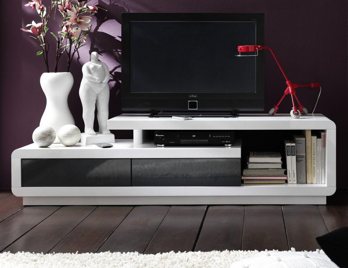 TV-Lowboard Hochglanz weiss und grau 170 cm