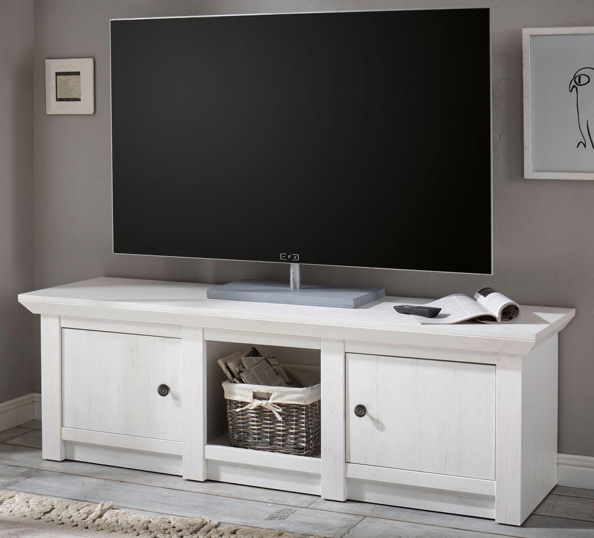 TV-Lowboard Hooge in Pinie weiss 152 x 51 cm