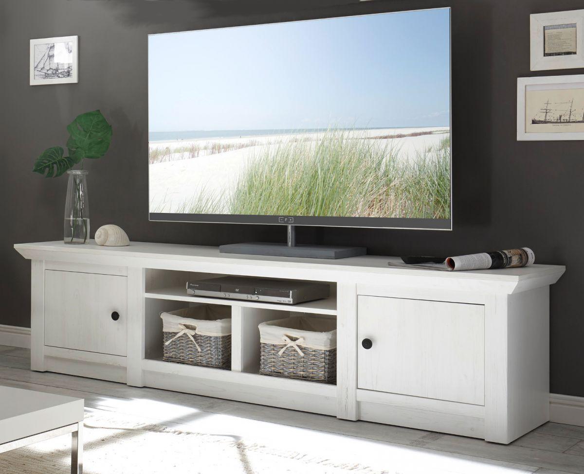 TV-Lowboard Hooge in Pinie weiss 194 x 51 cm