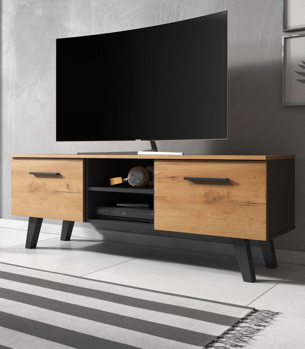 TV-Lowboard Jenrik Eiche und schwarz 140 cm