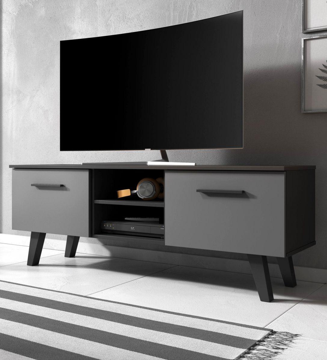 TV-Lowboard Jenrik schwarz und grau 140 cm